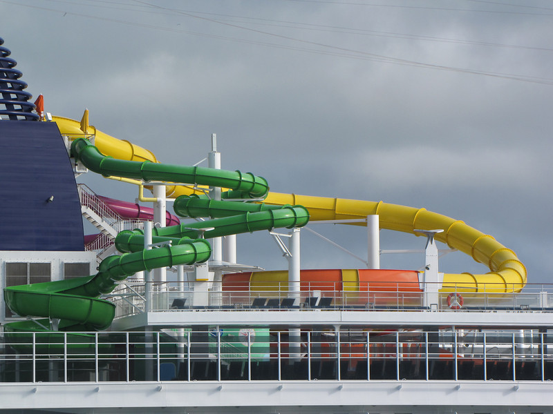She has a colorful water slide.
