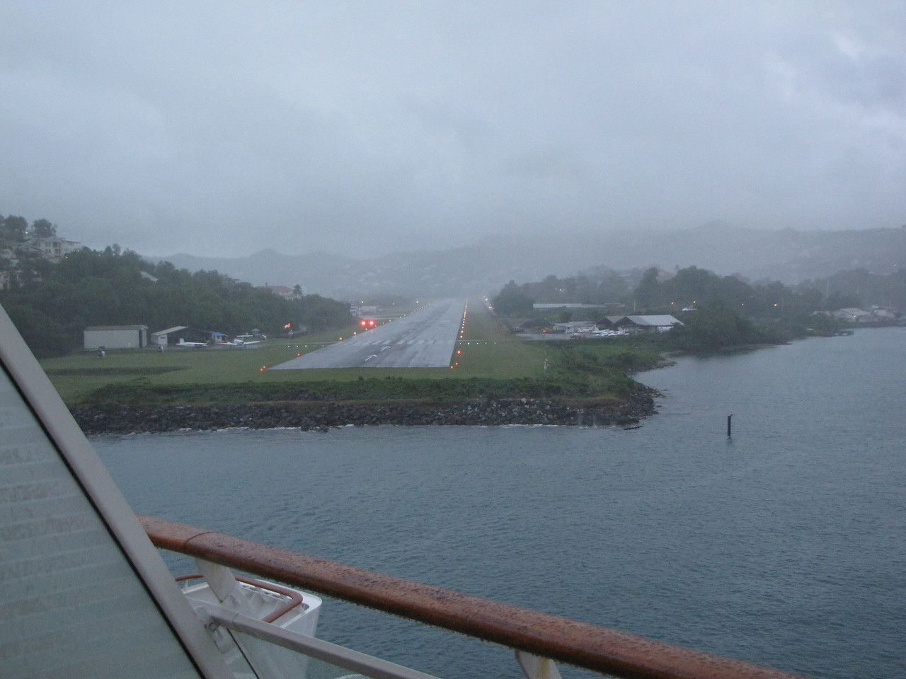 We pass by the George Charles Airport as we leave Castries Harbour.