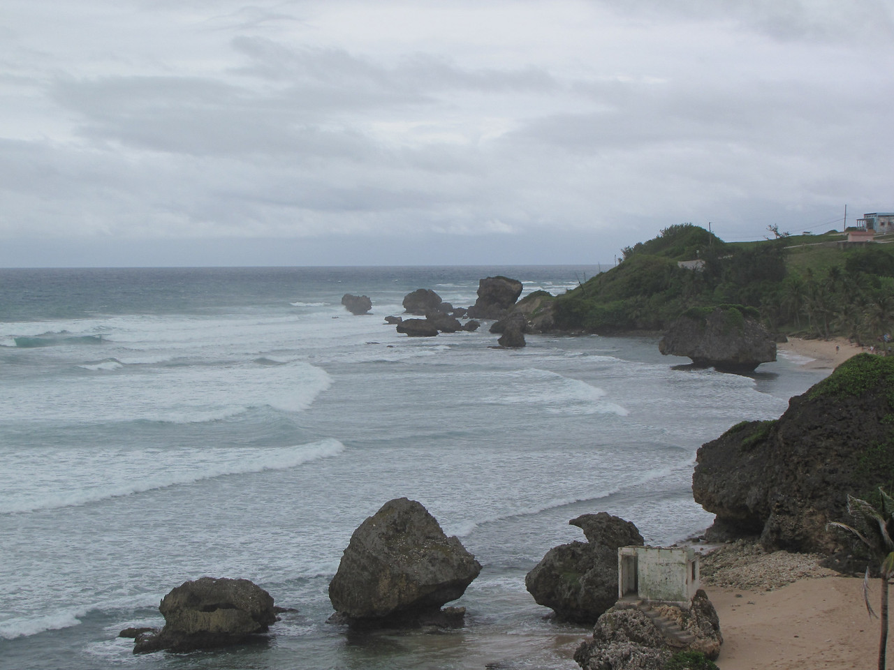 Since it is on the Atlantic side of the island, the surf is pretty rough, but it is a beautiful place.