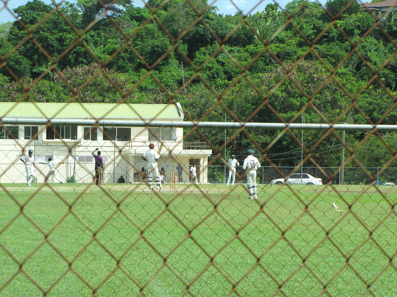 We pass a cricket match on the way back to St. George's.