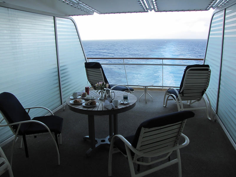 It's Sunday morning - the first full day of our cruise - and we're set up to have breakfast on our balcony.