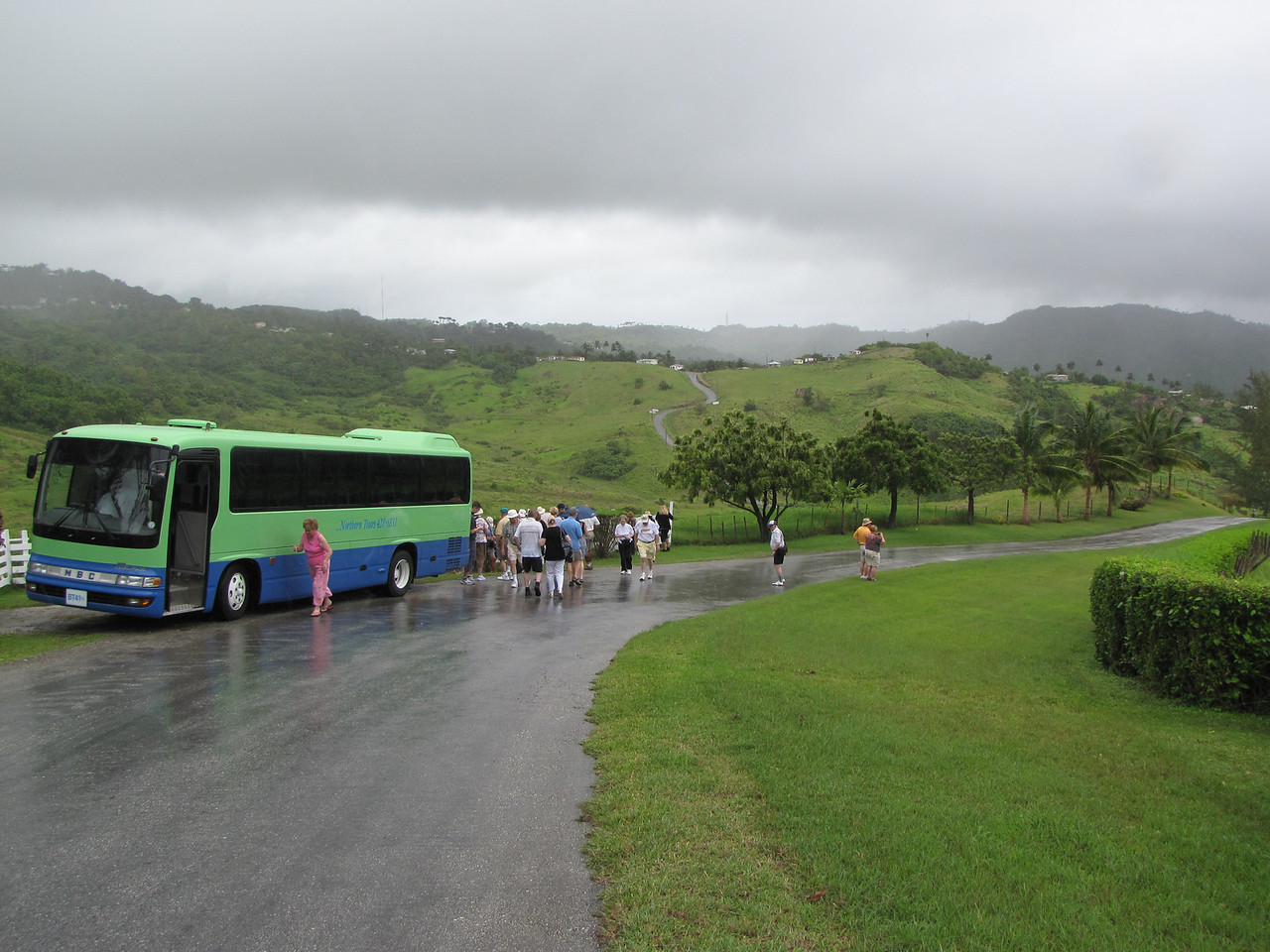 The countryside was beautiful, but unfortunately it was raining again.