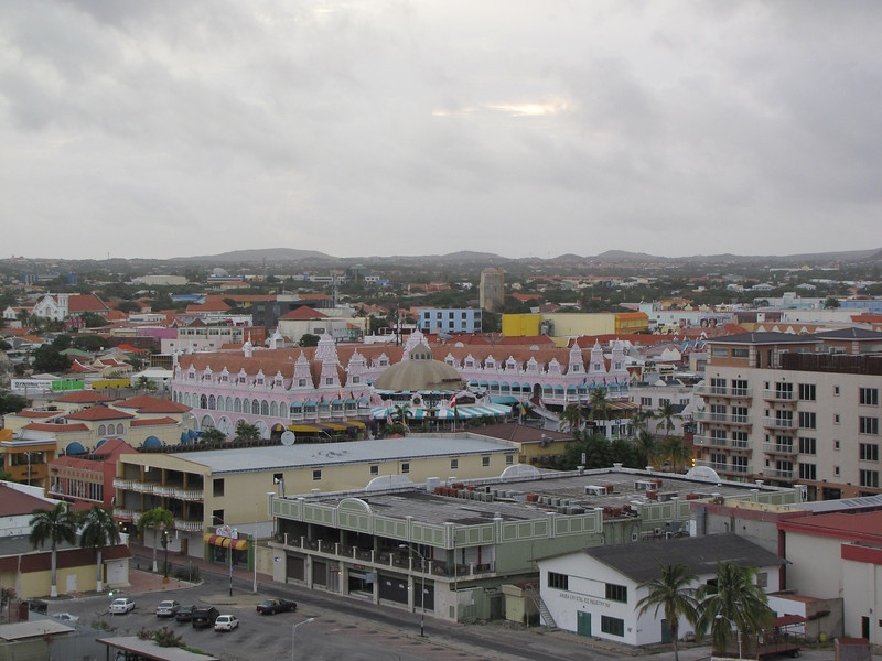 I went up to to take some photos while we were docking.  Here is the view into Oranjestad from the ship.