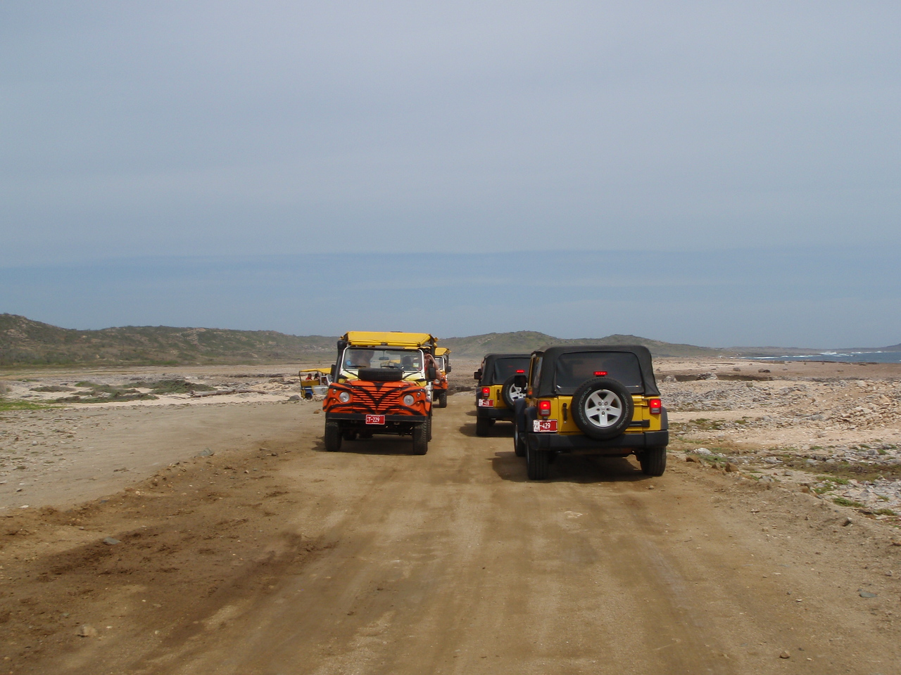 We conitinue along the sandy flats of the coast.  Here we meet another jeep tour headed in the other direction.