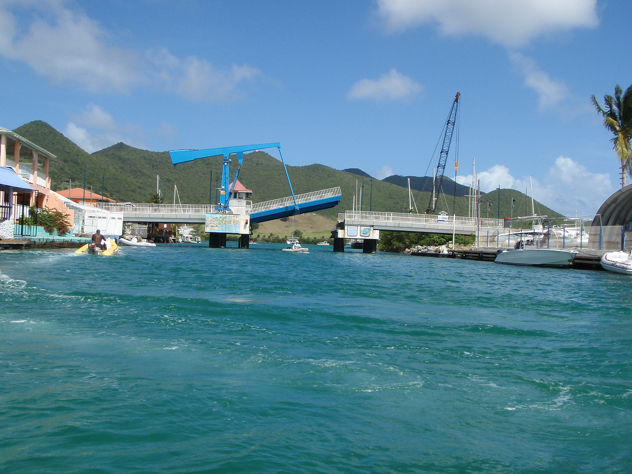 We pass under a draw bridge as we enter Simpson Bay Lagoon.