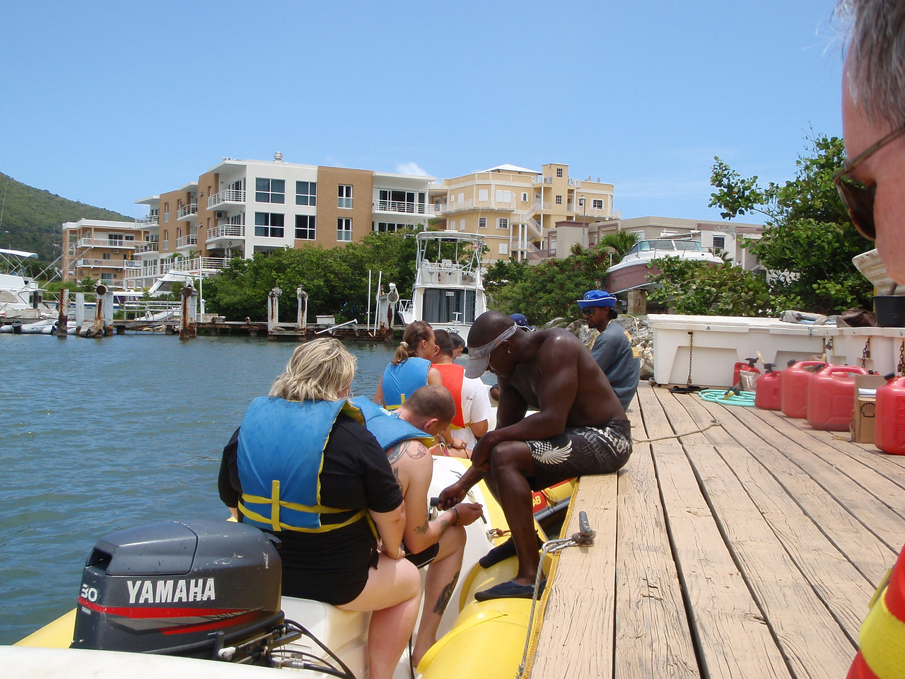 We booked the Rhino Rhider excursion.  Here one of the guides gets folks set up in their boats.
