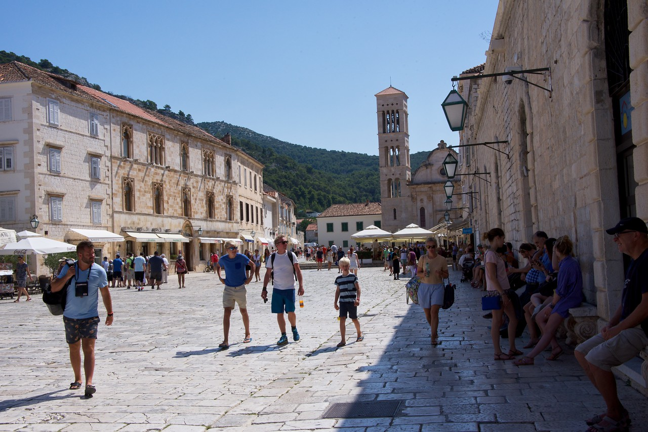 Hvar main square or St. Stephen's Square. The Cathedral of St. Stephen at the end of the square. The bay originally came up to the cathedral entrance.