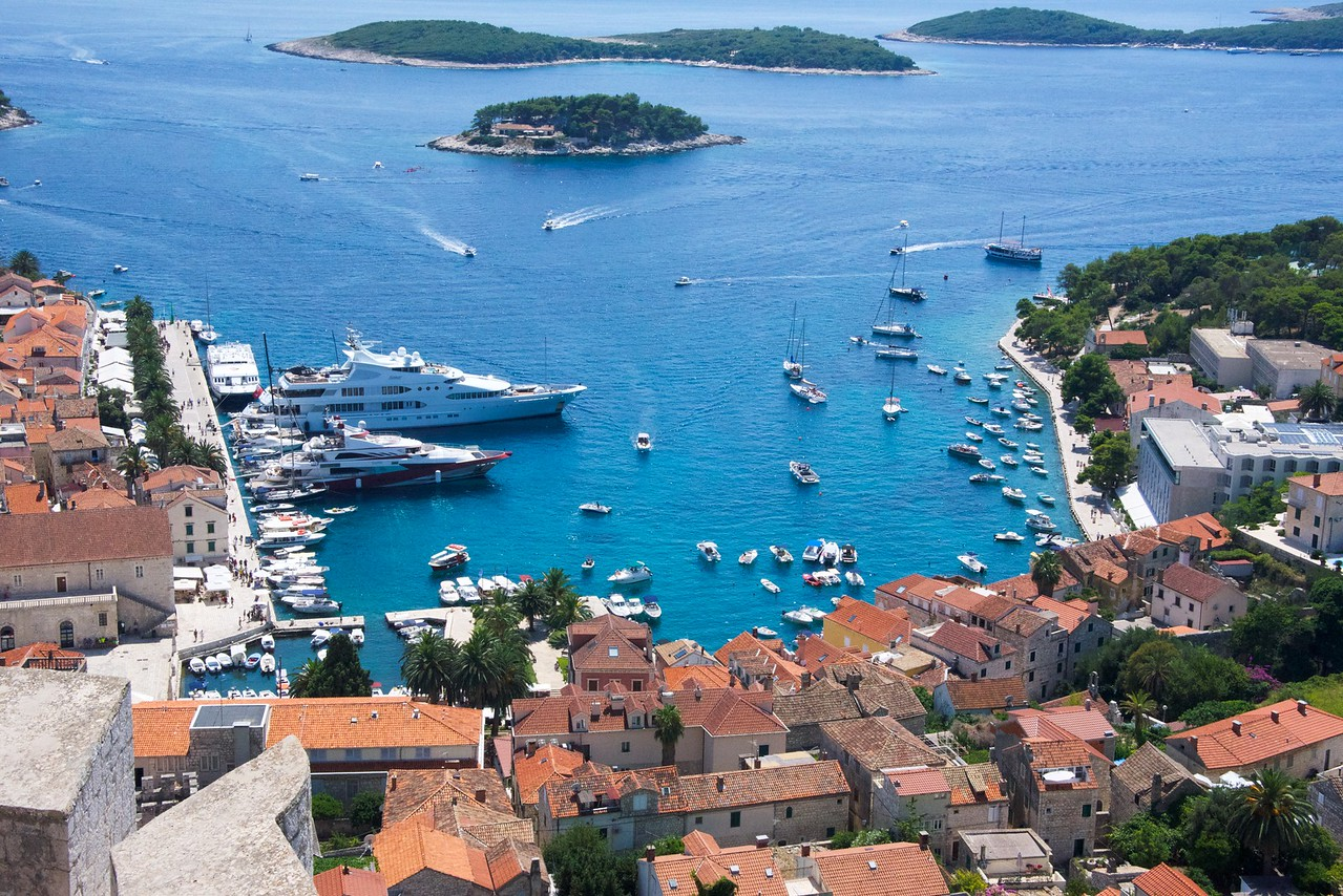 Picture postcard view of Hvar from Fortica (Fortica started when Venetians ruled Hvar).