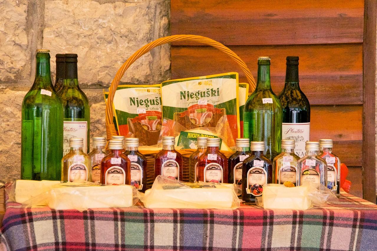 Refreshment break for Montenegro specialties... njrguski (dried ham), cheese and wine.