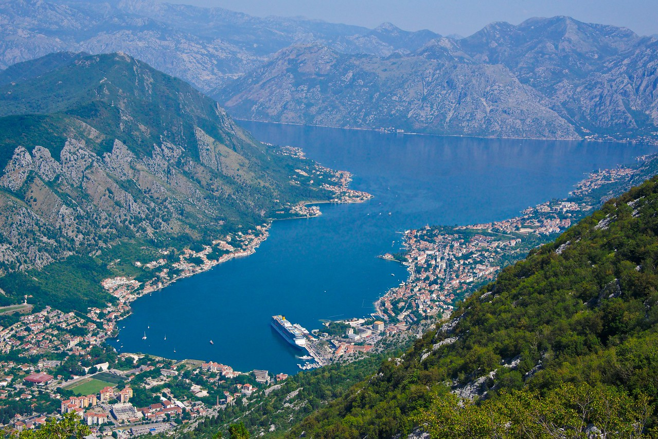 View of Kotor from mountain vantage point. (Lucky to get this shot. It was and extremely hazy day)