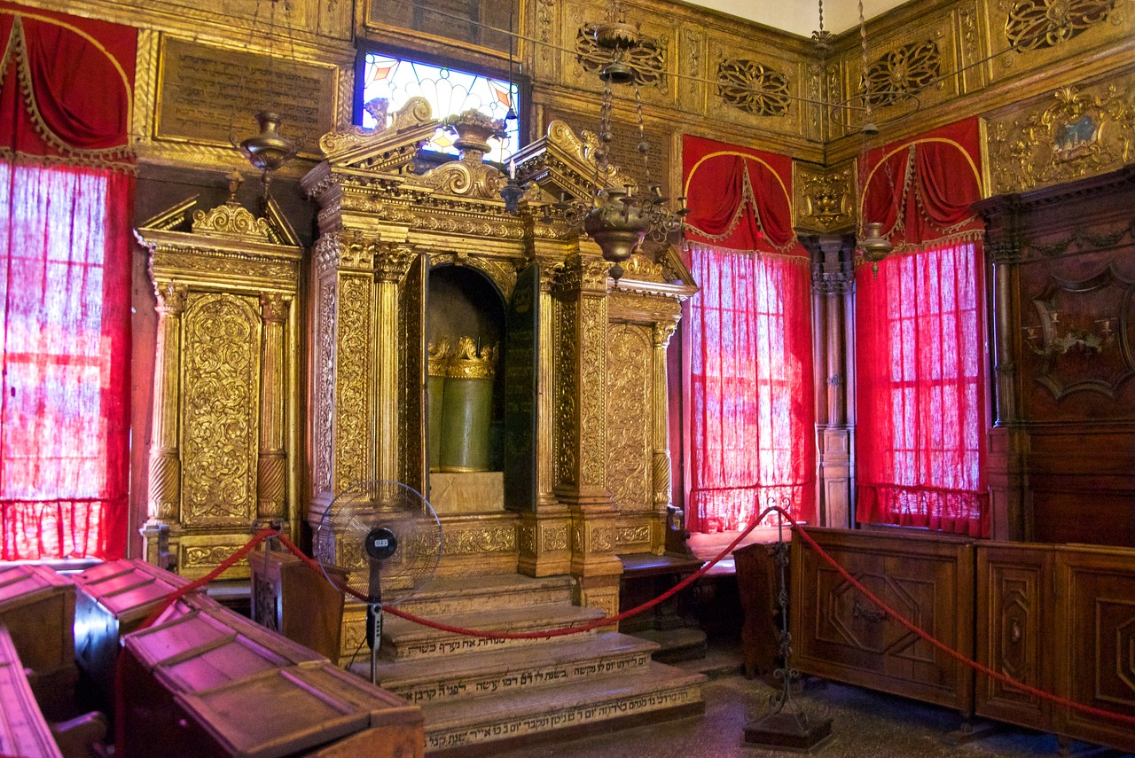 The families from southern France and showcases a Torah ark with gilded carvings and wood panels depicting the book of Exodus.
