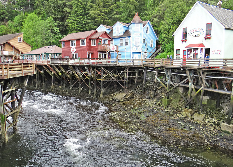 Creek Street is built along the shores of Ketchikan Creek. It was built over the water because it was simply too difficult to blast away the rocky hills surrounding the creek.