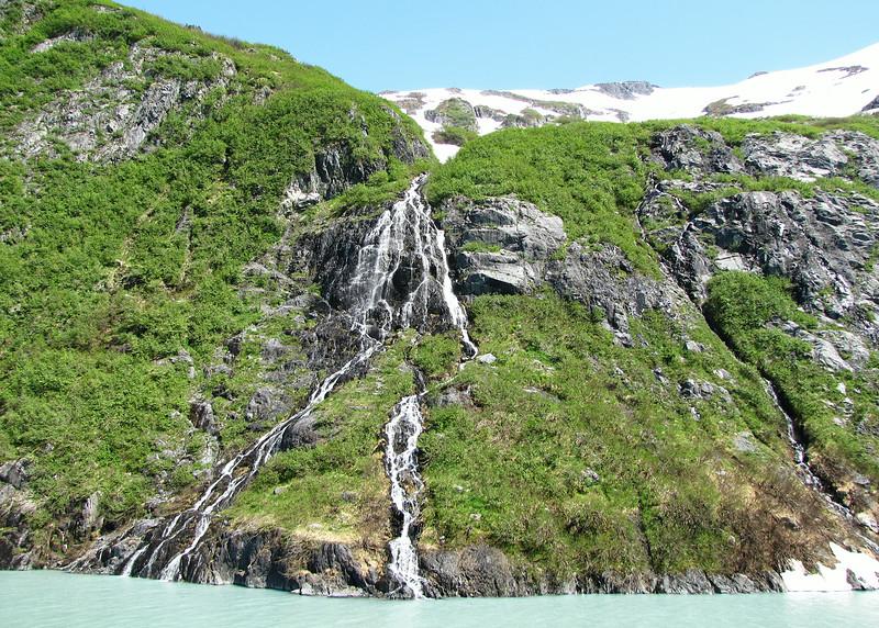 Waterfalls on boat ride on Portage Glacier