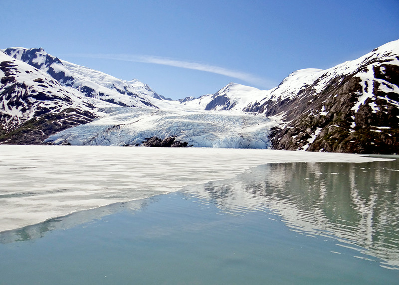 Portage Glacier in the background with ice still on the lake