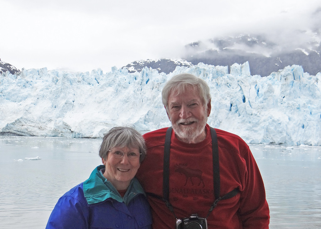 Glacier Bay - Susan and Mike with Margerie Glacier in background