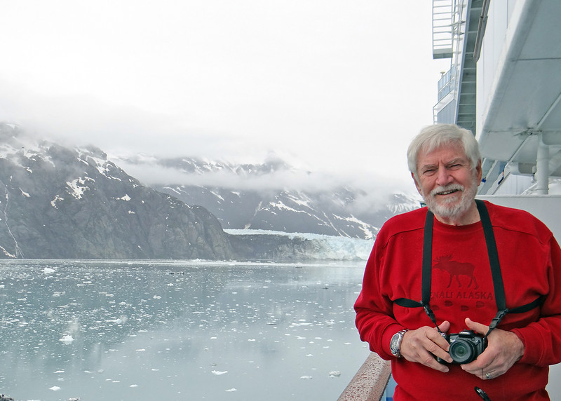 Glacier Bay and Mike with Margerie Glacier in background