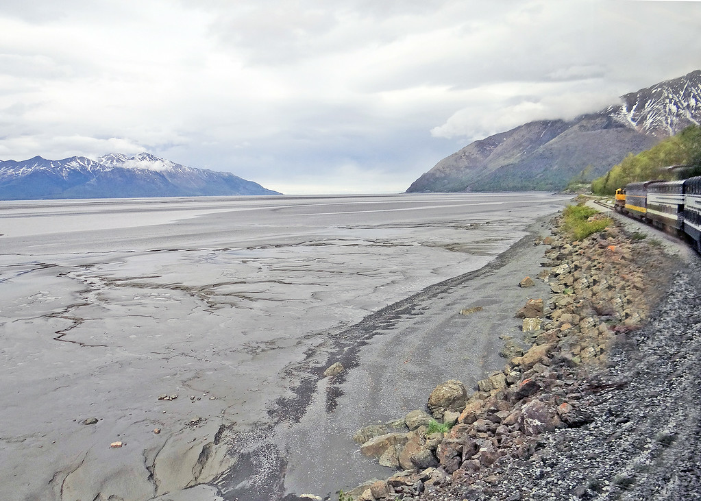 Front of train. Silt in Turnagain Arm at low tide.