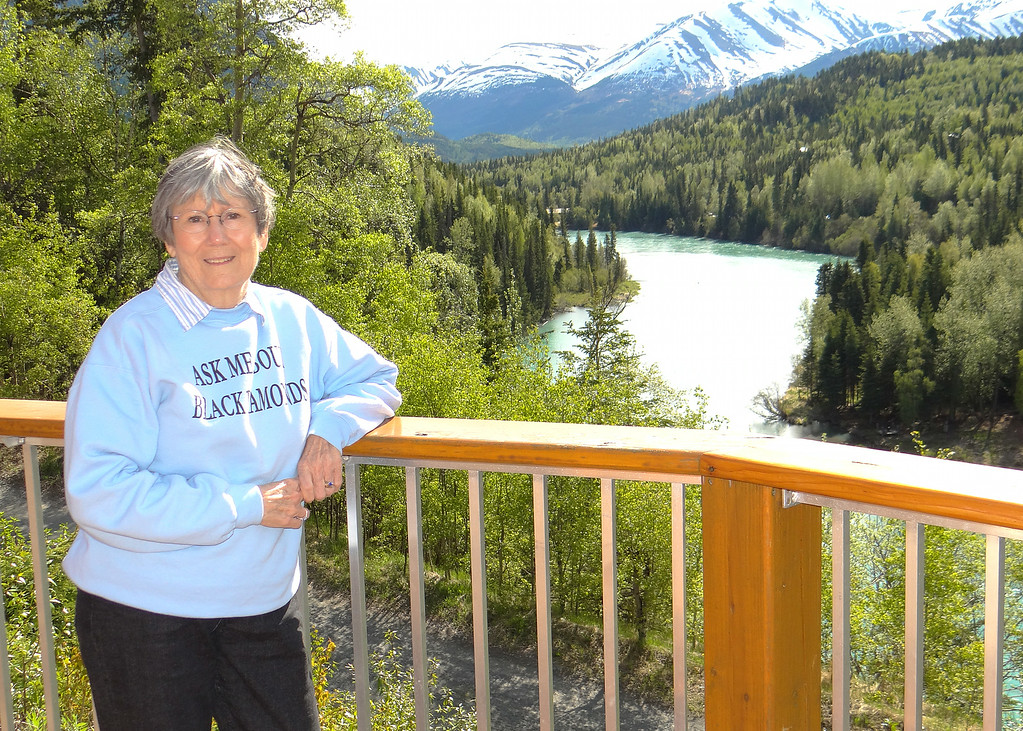 Susan at Kenai Princess Lodge with Kenai River in background