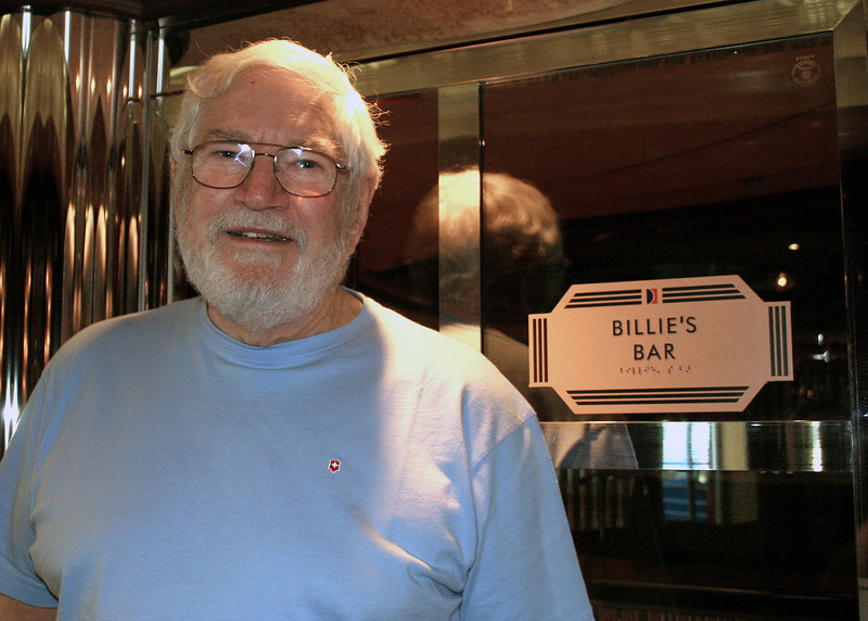 Mike on ship in front of Billie's Bar