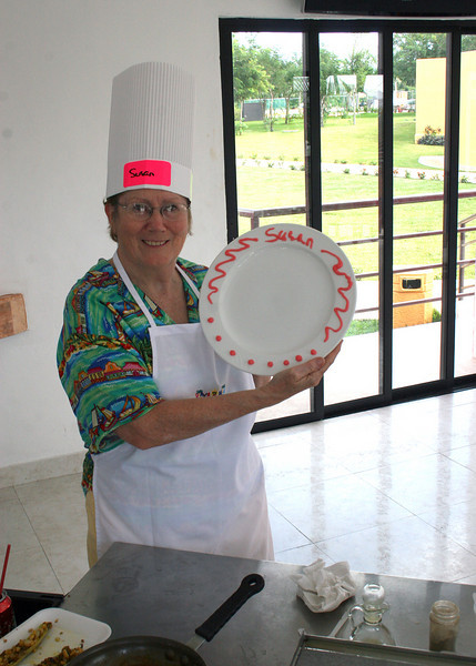 Susan showing her decorated plate