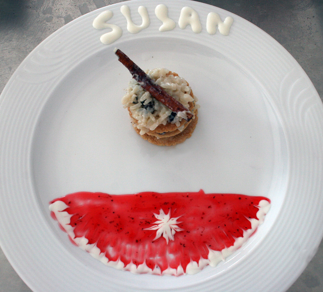 Susan's decorated plate with the dessert