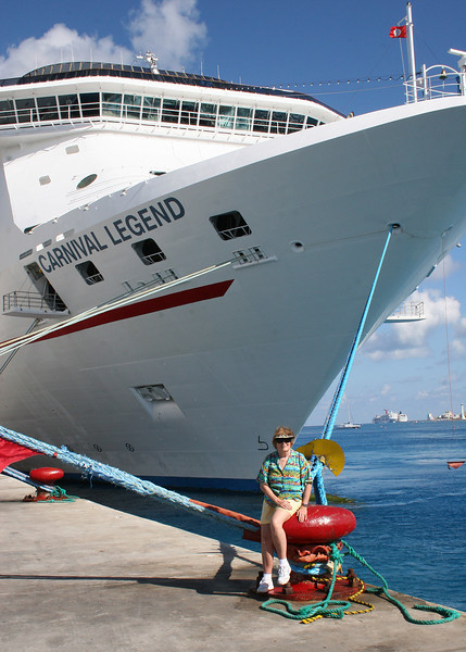 Susan in front of the Carnival Legend at Cozumel
