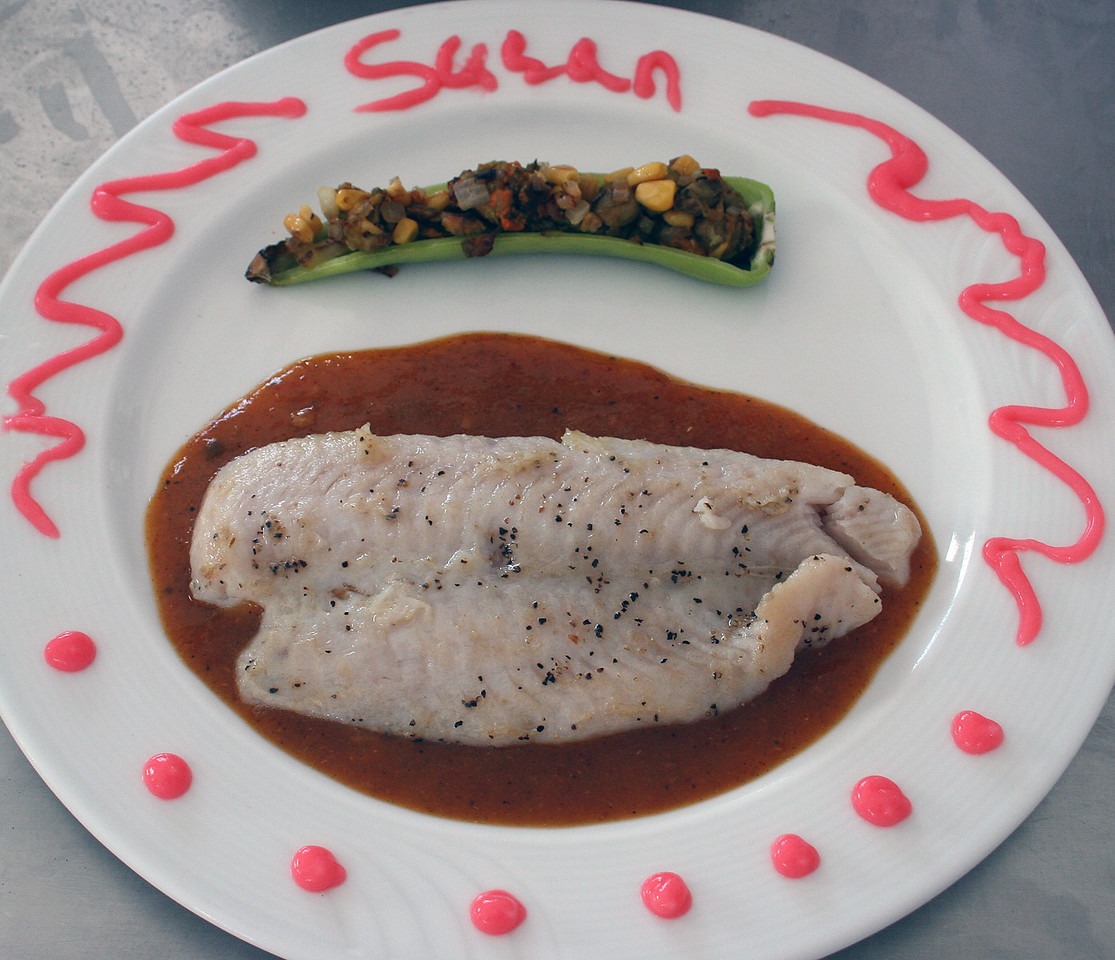 Susan's decorated plate with the entree