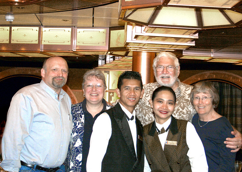 Dick and Dorothy (back left) were our dining partners.  Mike and Susan back right with Nick and Iis, our waitpersons