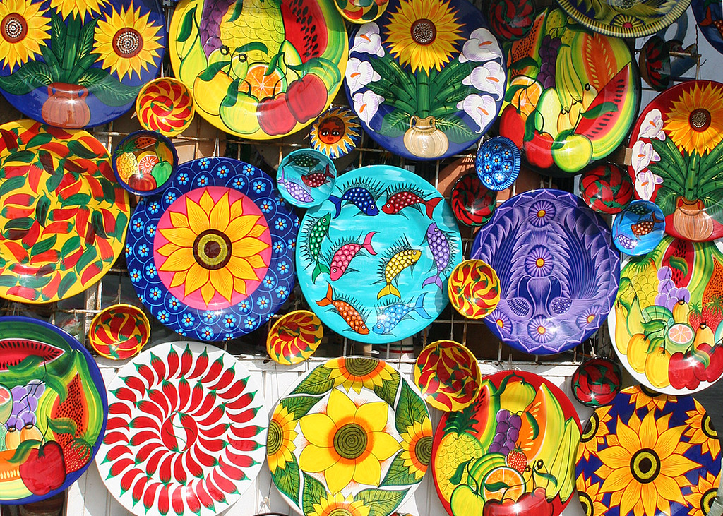 Colorful plates in marketplace in Old Town