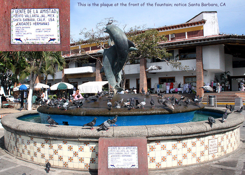 Dolphin Fountain with sign stating Puerto Vallarta and Santa Barbara, CA are sister cities