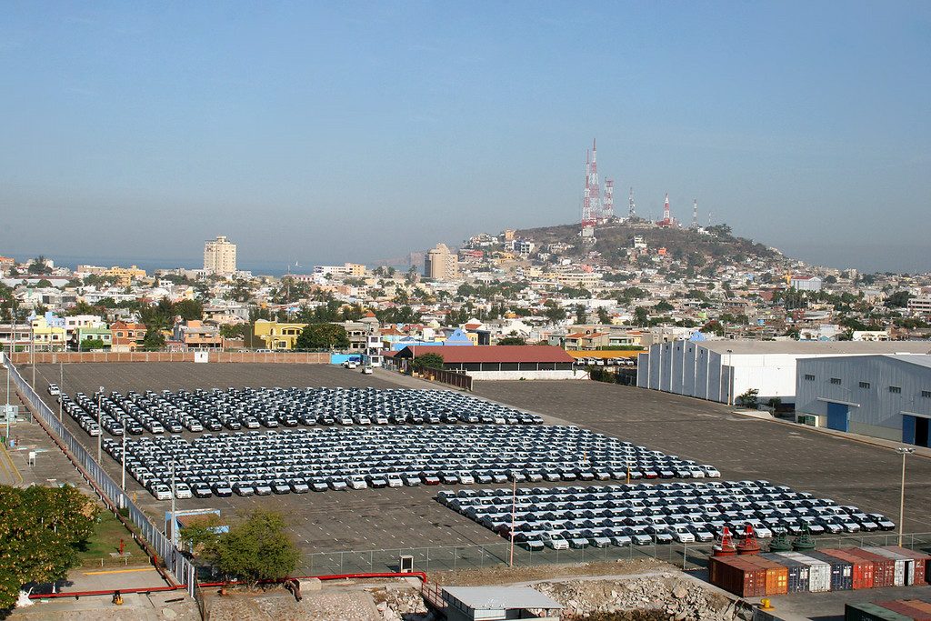 Cars either waiting to be loaded or have been unloaded at the port in Mazatlan