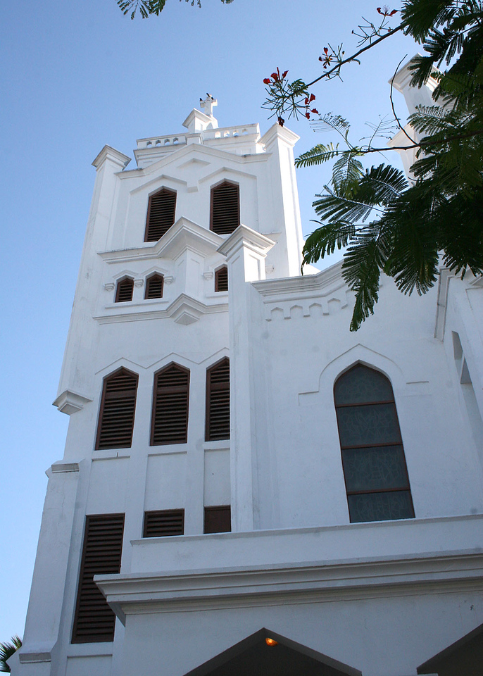 St. Paul's Episcopal church in Key West. This is the oldest in the Florida Diocese.  The original was built in 1831.  This one, build in 1912, is the fourth on this site.  John Fleeming, one of the four original owners of the island, is buried here.  his widow donated the property, stipulating that the church pews be free.