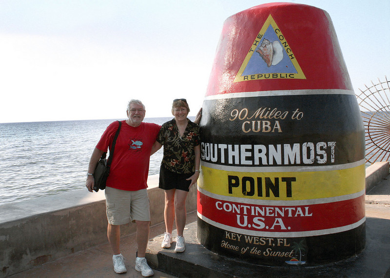 Mike and Susan at the southernmost point of the continental USA.