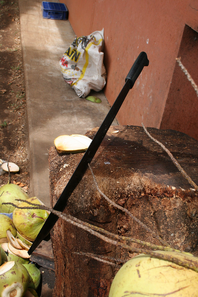Machete used to cut coconut