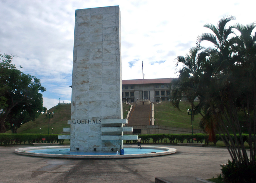 Goethals Memorial in front of the Panama Canal Administration Building.  In 1907 US President Theodore Roosevelt appointed George Washington Goethals chief engineer of the Panama Canal. The building of the Canal was completed in 1914, two years ahead of the target date of June 1, 1916.