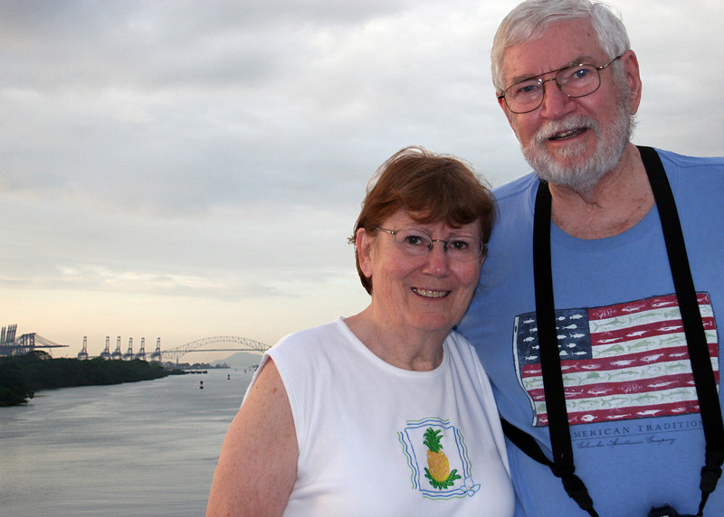 Susan and Mike with the Bridge of the Americas in the background