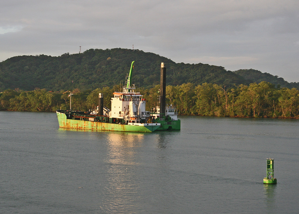 One of the dredgers along the canal.  The Panama Canal must be continually dredged to prevent it from being clogged with mud.
