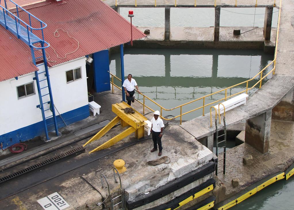 Workers at Miraflores Locks