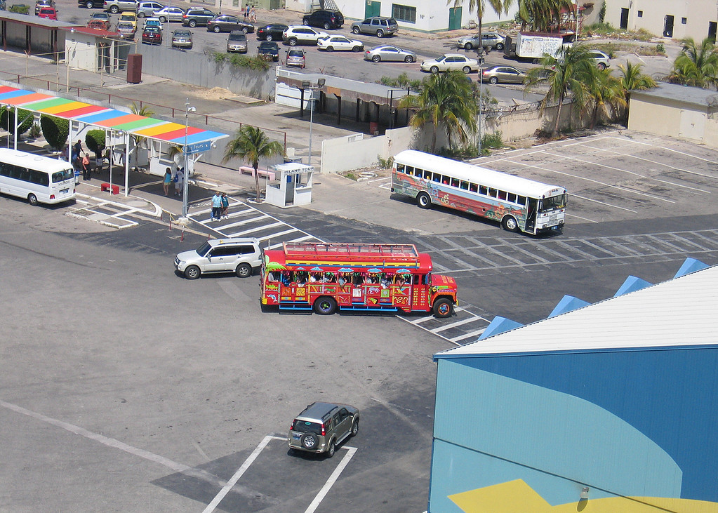 Colorful bus at dock