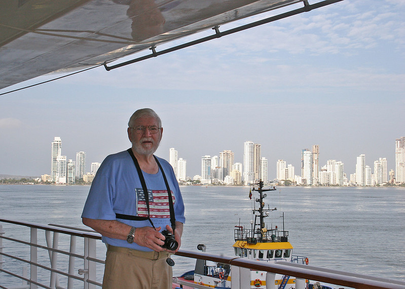 Mike on ship with view of Cartegena in background