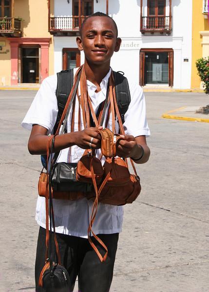 A vendor in the  Plaza de la Aduana