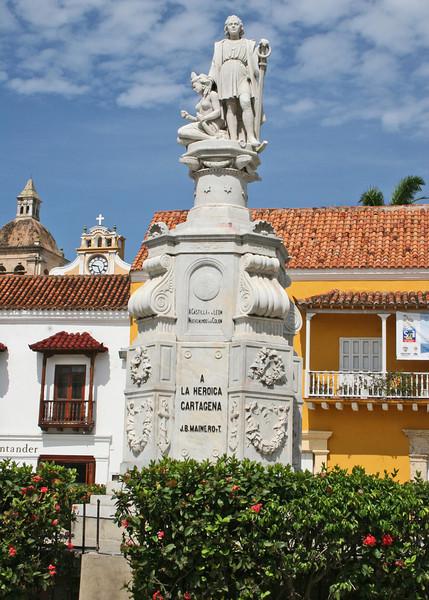Statue of Columbus in the Plaza de la Aduana - Customs Square