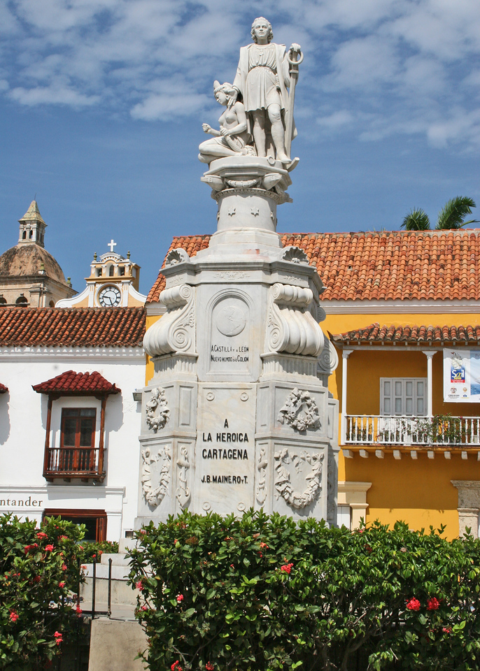 Statue of Columbus in the Plaza de la Aduana - Customs Square