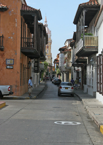 A narrow street in Old Town Cartegena