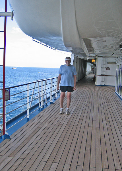 We did laps around the ship equally about 4 miles on the days we were at sea.