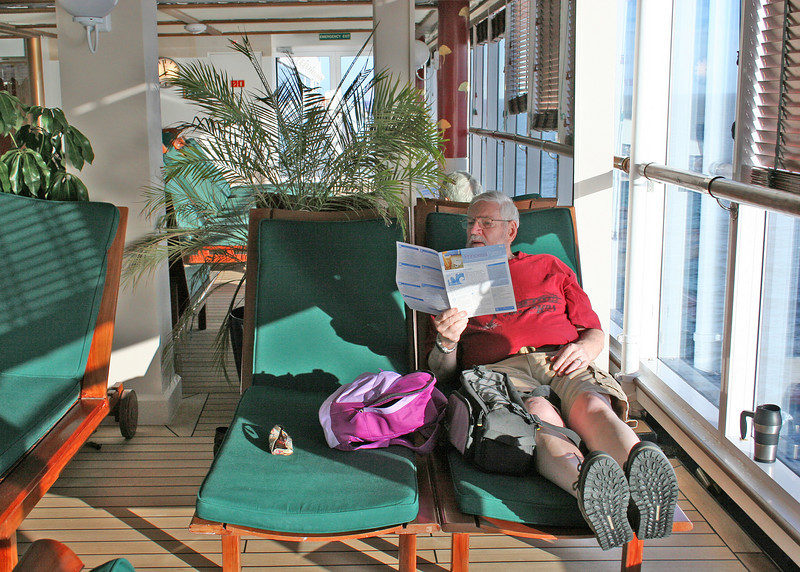 Mike reading in the adult area where we spent most of our time.  It is climate controlled and has a swimming pool and 2 hots tubs plus lots of very comfortable lounges.