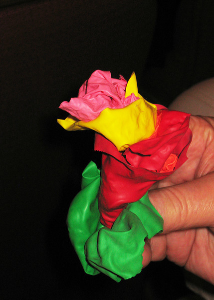 Mike made a bouquet from some of the various balloons.  We didn't however, find a prize.
