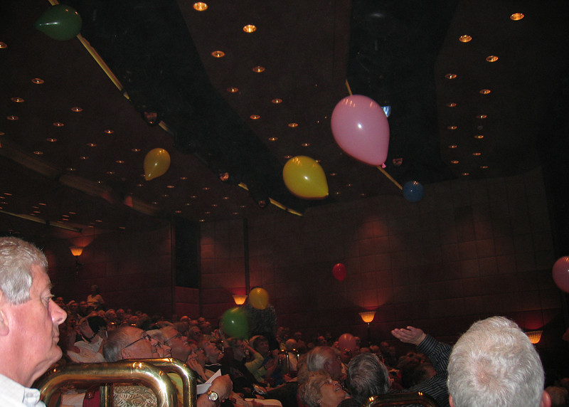 At one of the shows they sent balloons into the audience with a prize inside one of them.  The audience batted the balloons around and popped them to find the prize.