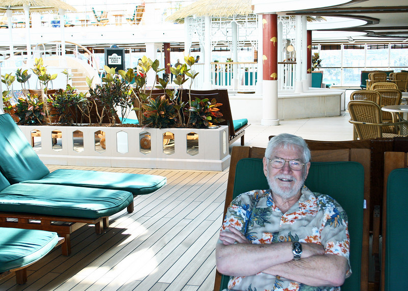 Mike in the adult area where we spent most of our time.  It is climate controlled and has a swimming pool and 2 hots tubs plus lots of very comfortable lounges.