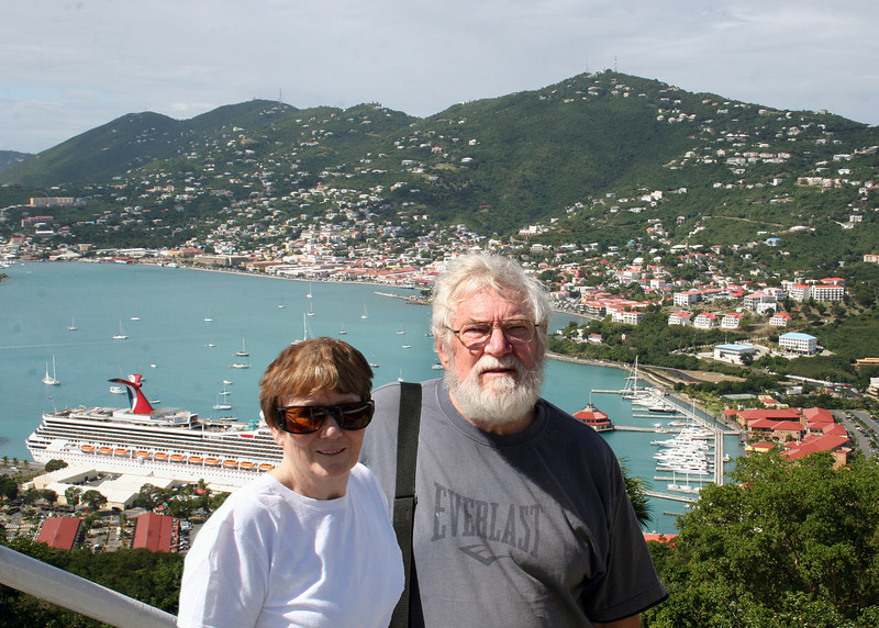 Susan and Mike at the top of the Skyride with the Carnival ship in the background